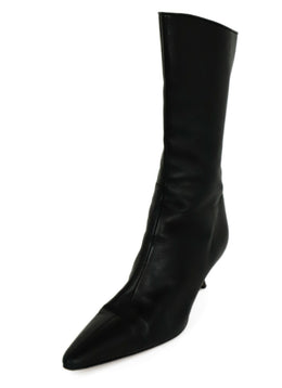 Manolo Blahnik Black Leather Mid Calf Boots 1