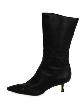 Manolo Blahnik Black Leather Mid Calf Boots 2