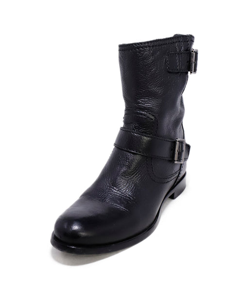 Prada Black Leather Buckle Detail Boots 1