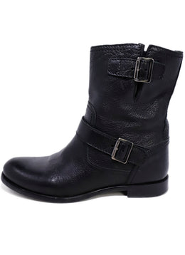 Prada Black Leather Buckle Detail Boots 2
