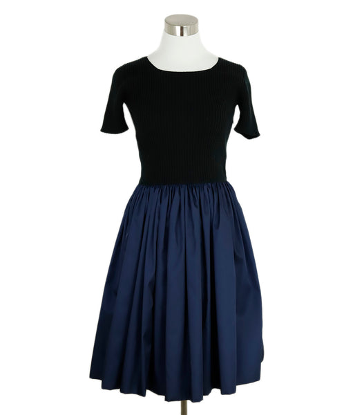 Prada Black Navy Cotton Dress 1