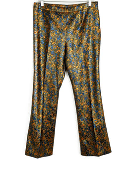 Prada Size 8 Metallic Orange Blue Polyester Lurex Pants 1
