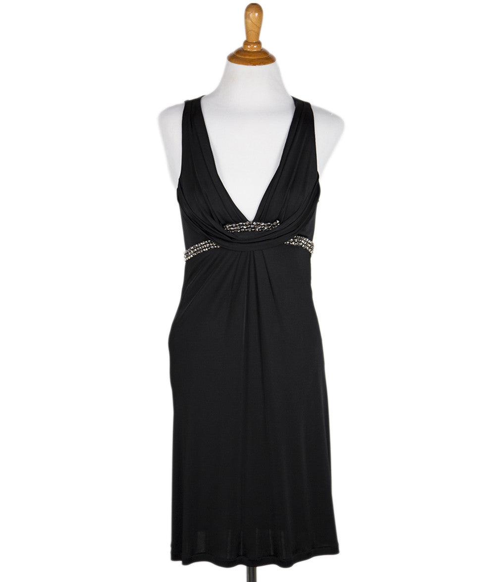 Roberto Cavalli Black Jersey Dress with Beaded Trim Sz 2 - Michael's Consignment NYC  - 1