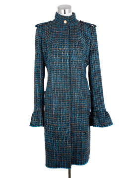 Roberto Cavalli Turquoise Brown Tweed Wool Coat 1