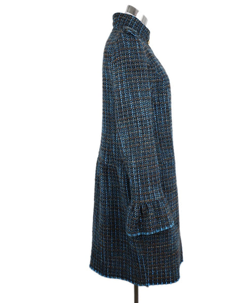 Roberto Cavalli Turquoise Brown Tweed Wool Coat 2