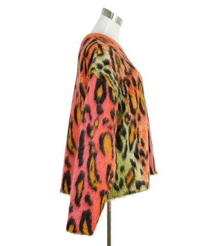 Stella McCartney Orange Lime Animal Print Mohair Sweater 1
