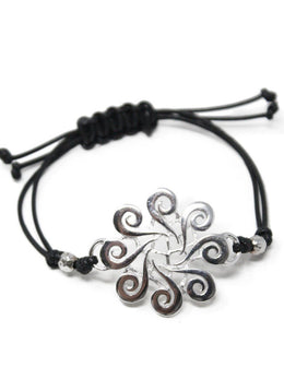 Bracelet Sterling Silver Black Cord Jewelry