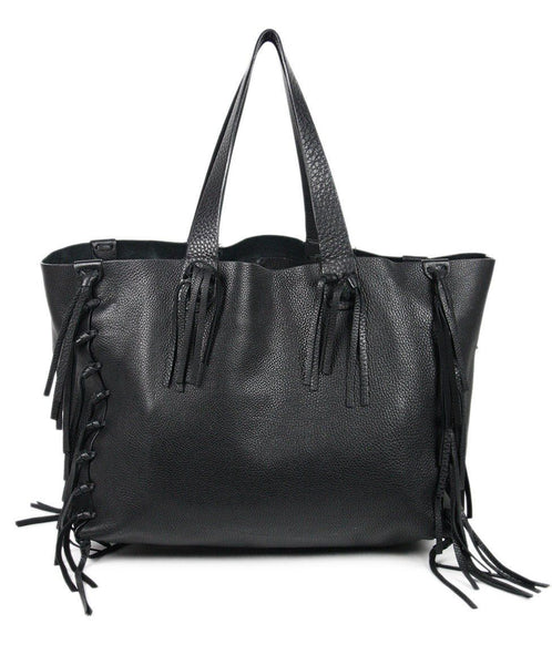 Valentino 'C-Rockee' Black Leather Fringe Handbag