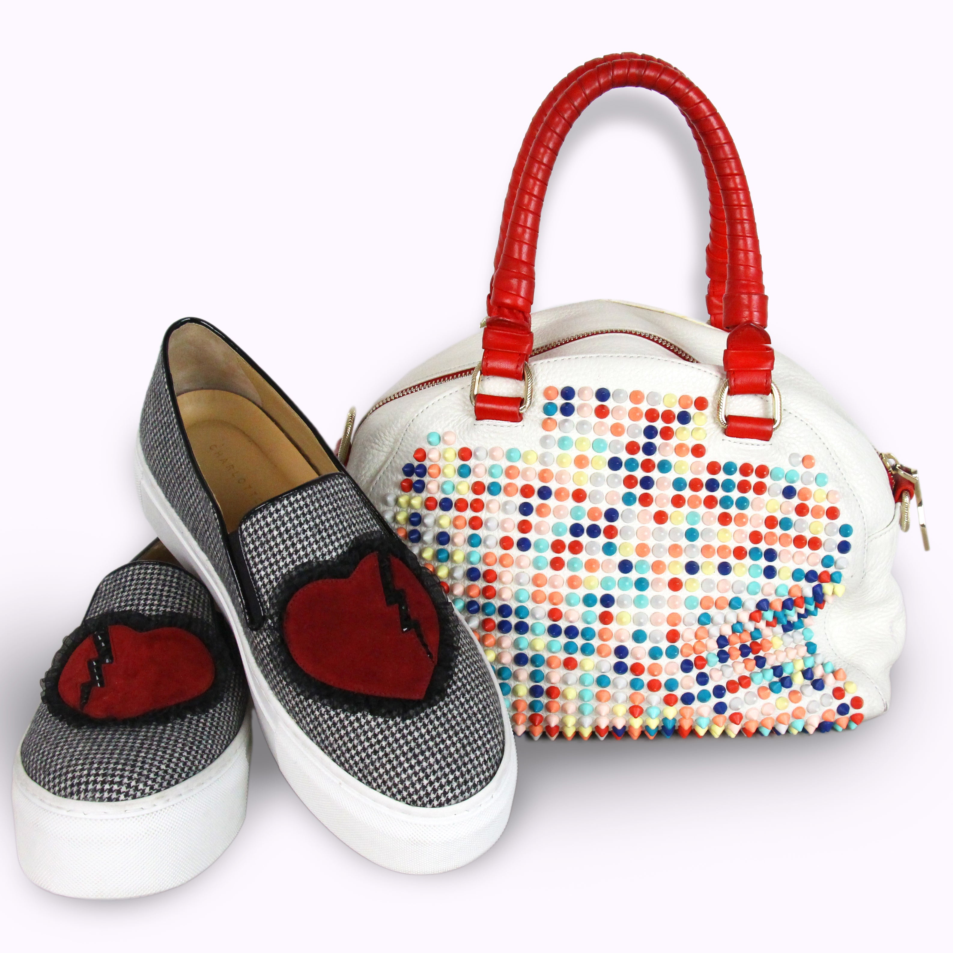 Christian Louboutin Panettone Spikes White Multicolor Studded Bag