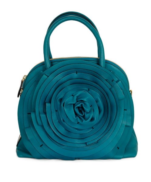 Valentino Blue Teal Floral Leather Handbag 1
