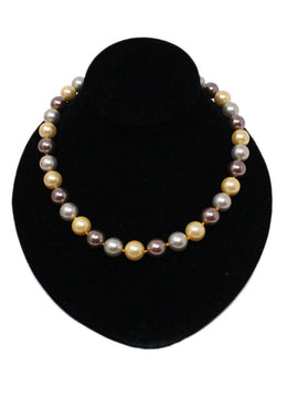 Multi Color Faux Pearl 14 K Yellow Gold Necklace 1