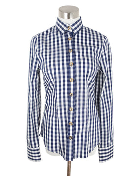 Gorsuch White Blue Check Cotton Top 1
