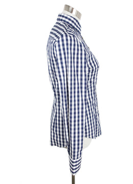 Gorsuch White Blue Check Cotton Top 2