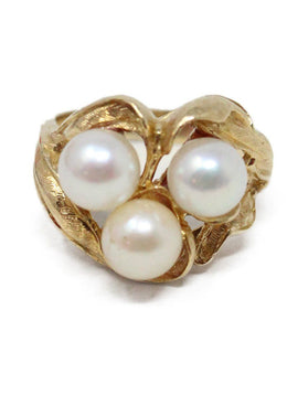 Yellow 14 K Gold Pearl Ring 2