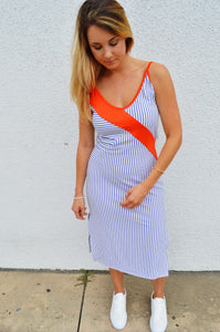 On The Horizon Striped Tie Back Midi Dress