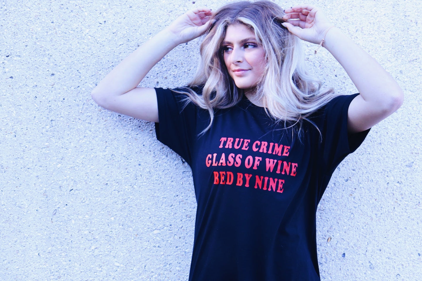 True Crime, Glass of Wine, Bed by Nine Tee