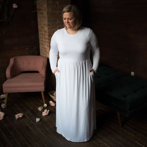 Plus Size Temple Dress All White LDS
