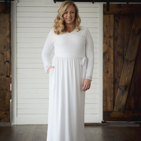 LDS Temple Dress Pure White Plus Size XL, 1X, 2X, 3X, 4X, and 5X