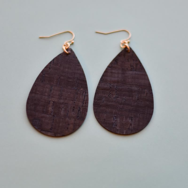 Cork Inspired Leather Earrings