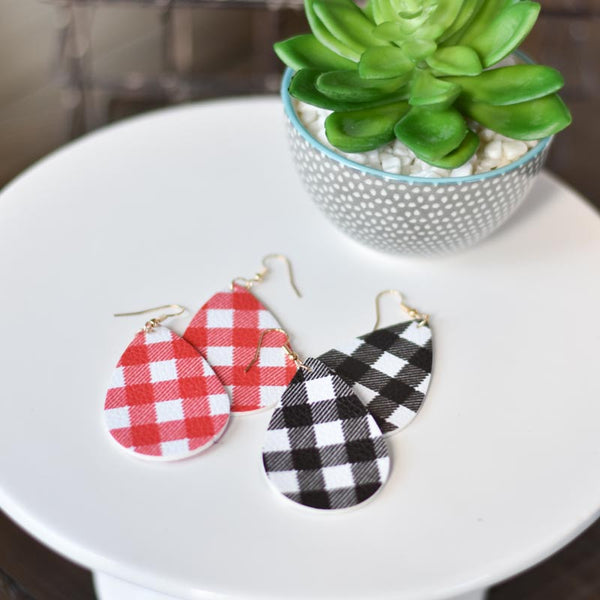 Picnic Pattern Tear Drop Earrings
