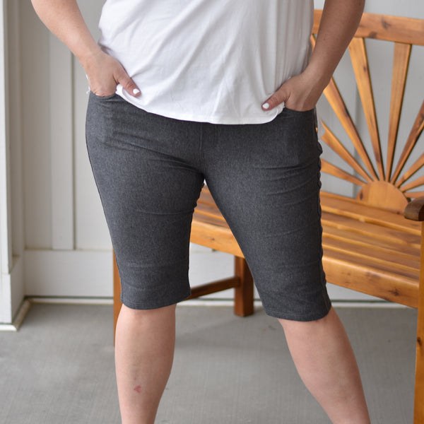 Charcoal Jegging Shorts
