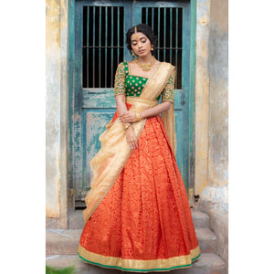 Green and Orange Traditional Half Saree