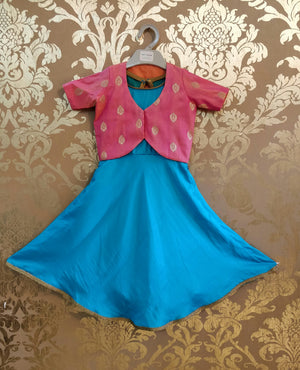 Turquoise Soft Silk Full Flare Dress With Pure Brocade Peach Jacket !!