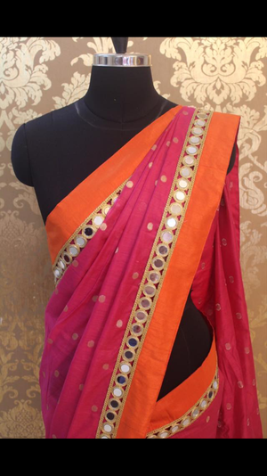 pink saree with orange border