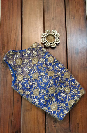 Blue Sleeveless Readymade Blouse