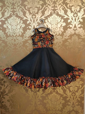 Black frock with floral print in different colours