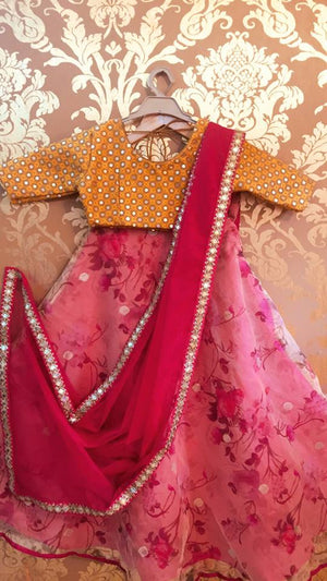 On Sale!!! Kids wear.. Lehenga set (mustard mirror blouse with floral printed skirt and net dupatta) !!!