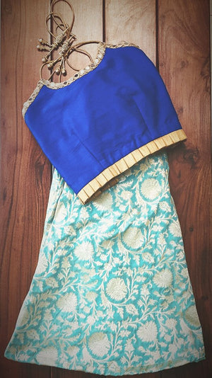 Kid wear Raw silk crop top with banaras skirt