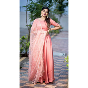 Peach Floor Length Dress