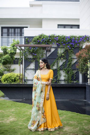 Yellow Mirror Anarkali