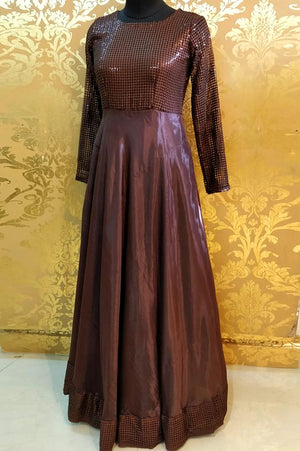 Brown sequins bodice with crepe dress