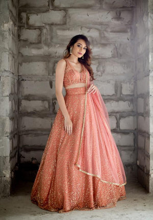 Peach sequins Lehenga set