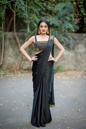 Black Drape Saree