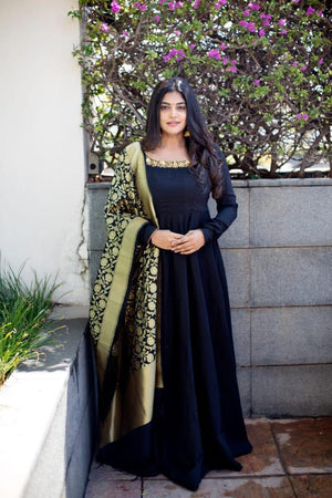 Black Long dress with black dupatta