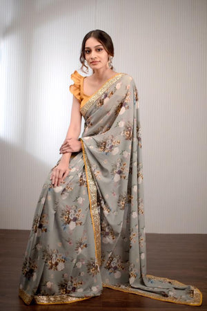 Floral printed grey pure georgette saree