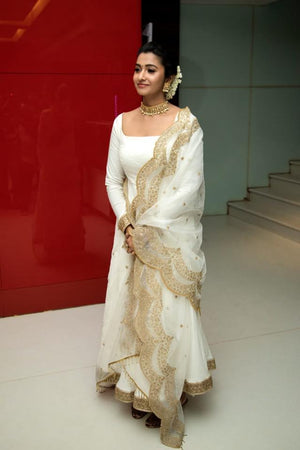 White long anarkali with gold worked duppata