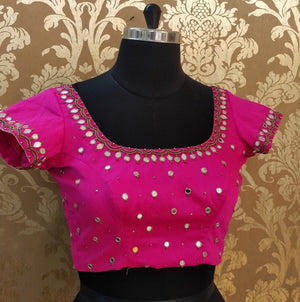 Pink Hand Embroidered Mirror work Blouse