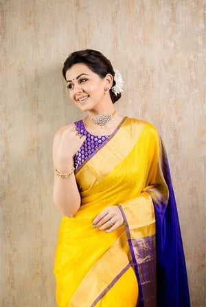 Yellow with Blue soft silk saree