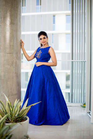Blue Embroidered Floor Length Dress