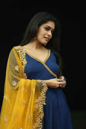 BLUE ANNARKALI WITH MUSTARD DUPATTA
