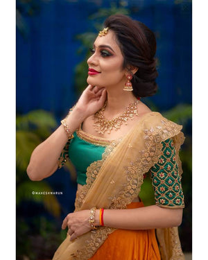 GREEN AND MUSTARD BRIDAL LEHANGA