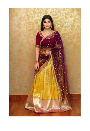 WINE AND OLIVE GREEN TRADITIONAL HALF SAREE