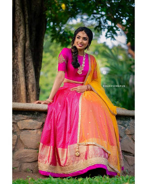 Pink and Mustard Traditional Half Saree