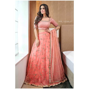 Peach bridal lehanga set