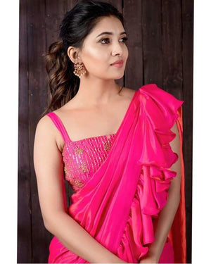 Hot Pink Ruffle Saree