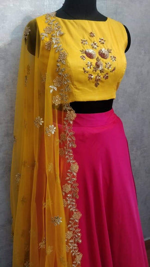 Mustard and Pink Lehanga set